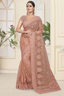 Picture of Preferable light brown Colored Partywear Embroidered Net Saree