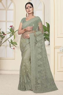 Picture of Amazing Mint Green Colored Partywear Embroidered Net Saree