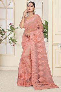 Picture of Amazing Peach Colored Partywear Net Saree