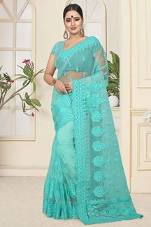 Picture of Turquoise blue Colored Designer Embroidered Net Saree