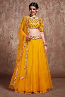 Picture of Impeccable Mustard designer lehenga