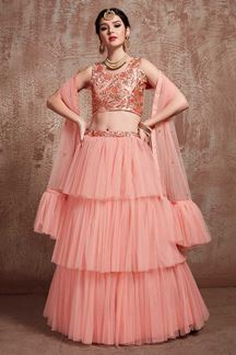 Picture of Peach Color Designer Ruffle Lehenga Choli