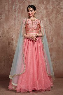 Picture of Pink Color Party Wear Net Flared Lehenga Choli