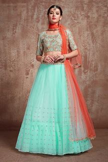 Picture of Designer Party Wear Net Blue Lehenga Choli