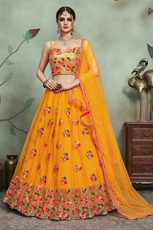Picture of Astounding Mustard Yellow designer lehenga