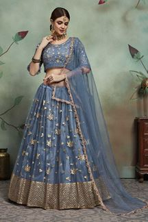 Picture of Glowing Grey Colored Party Wear Designer Lehenga Choli
