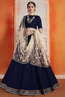 Picture of Dark Navy Blue Stylish Lehenga Choli