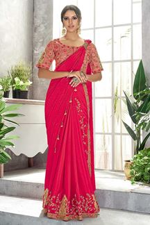 Picture of Marvelous Pink Colored Party wear  Embroidered Saree