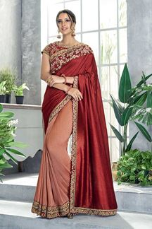 Picture of Charming Rust Red & Peach  Saree With Embroidery work