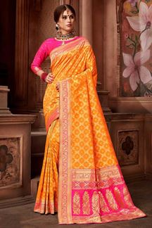 Picture of Orange & Pink Upada Silk Brocade Saree