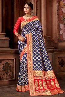 Picture of Blue & Red Upada Silk Brocade Saree