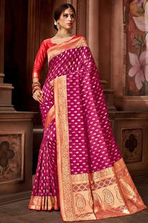 Picture of Magenta  Pink Upada Silk Saree