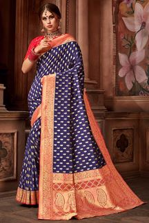 Picture of Appealing Purple & Red Upada Silk Brocade Saree