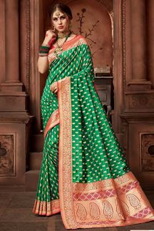 Picture of Refreshing Green Upada Silk Saree