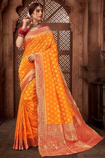 Picture of Awesome Orange Colored Upada Silk Saree