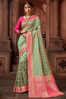 Picture of Blooming Two tone Green Colored Upada Silk Saree
