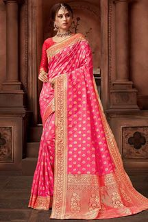 Picture of Refreshing Pink Colored Festive Upada Silk Saree