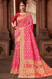 Picture of Beautiful Pink Colored Festive Upada Silk Saree