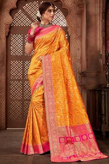 Picture of Glowing Yellow Colored Festive Upada Silk Saree