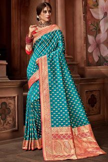 Picture of Rama Blue Upada Silk Saree