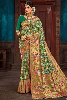 Picture of Green Colored Festive Wear Patola Silk Saree