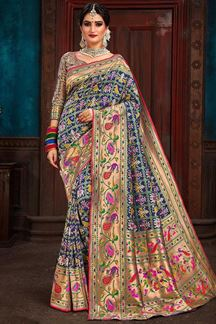 Picture of Blooming Blue Colored Designer Saree