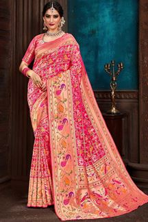 Picture of Elegant Pink Colored Upada Patola Saree