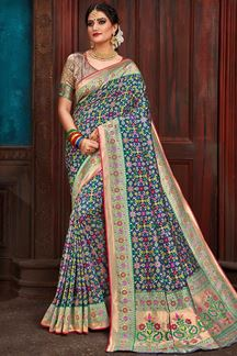 Picture of Magical blue designer patola saree with border