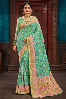 Picture of Marvellous Green Colored Designer Patola Saree
