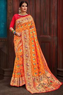 Picture of Divine orange designer patola saree