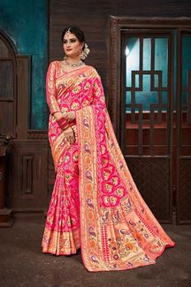 Picture of Heavenly pink designer patola saree with zari