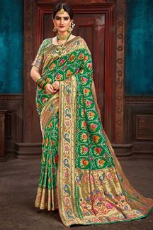 Picture of Lovely Green Colored Party Wear Designer Saree