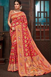 Picture of Mature Red Self Designed Patola Saree