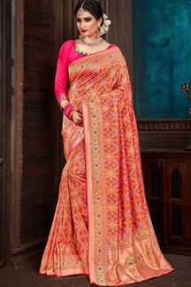 Picture of Peasant Orange Colored Festive Wear Patola Saree
