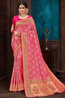 Picture of Impressive Pink Colored Partywear Patola Saree