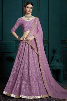 Picture of Designer Fancy Lavender Color Georgette Lehenga Choli