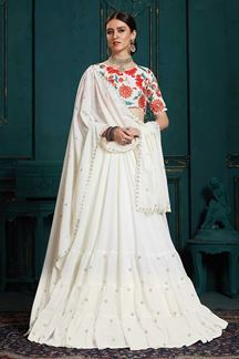 Picture of Georgette Function Wear Embroidered Lehenga Choli In White Color