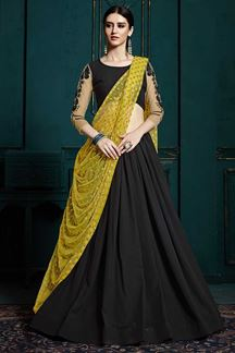 Picture of Designer Party Wear Fancy Black Color Georgette Lehenga Choli