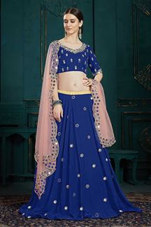 Picture of Georgette Function Wear Embroidered Lehenga Choli In Blue Color