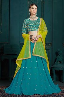Picture of Beautiful Peacock Color Function Wear Georgette Lehenga Choli
