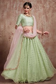 Picture of Pistachio Color Party Wear Net Flared Lehenga Choli