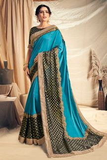 Picture of Simplistic Blue Designer Glowing Saree