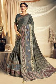 Picture of Stunning grey Colored Partywear Saree