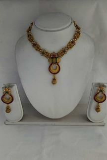 Picture of Green color party wear necklace set with Chandbali earring