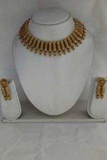 Picture of Traditional Ethnic gold plated bead work necklace set