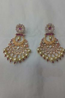 Picture of Glorious Designer Pink Stone Kundan Earring with Pearls hanging