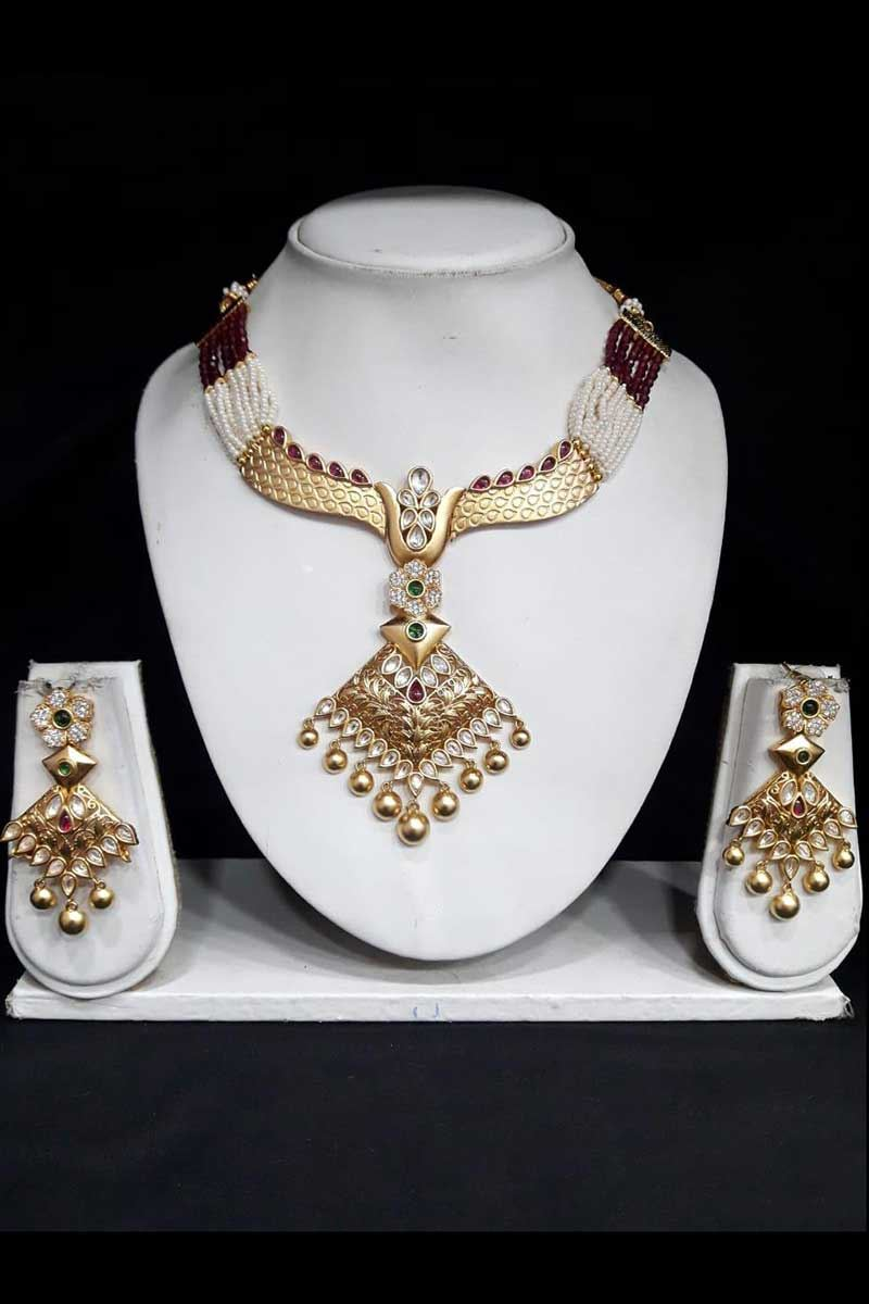 Beautiful Gold Look Designer Necklace Set Work With Golden Pearls