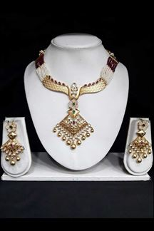 Picture of Beautiful Gold Look Designer Necklace set work with Golden pearls