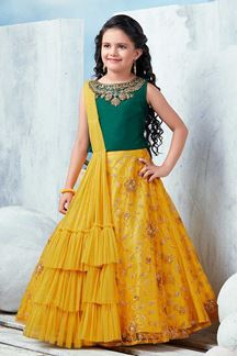 Picture of Striking green & Yellow Designer Lehenga Choli