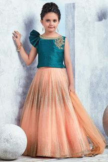 Picture of Fabulous Rama Blue & Peach lehenga choli set
